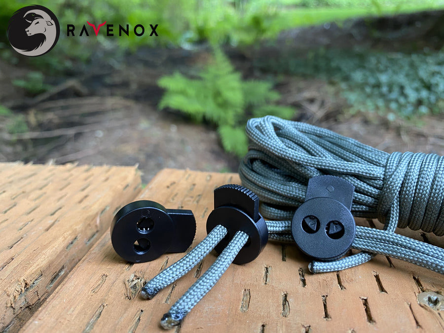 Ravenox Dual Hole Circle Black Cord Locks for 550 Paracord Projects COVID-19 Face Masks Bungee Cords