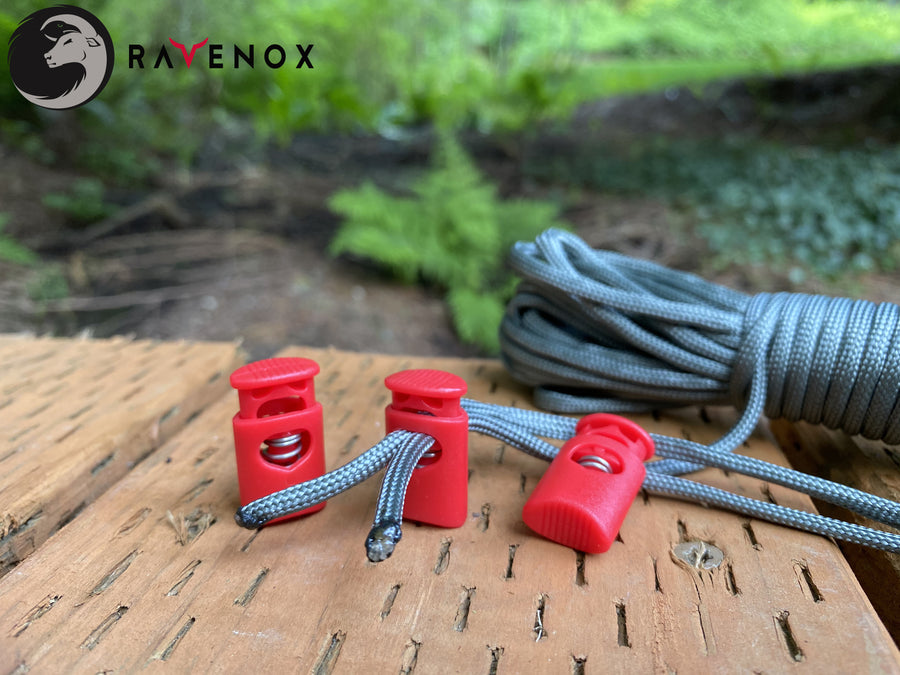 Ravenox Red Crown Cord Locks for 550 Paracord Projects COVID-19 Face Masks Bungee Cord