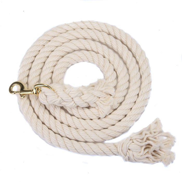 Burgundy Lead Rope 10 Foot Cotton with Brass Plated Bolt Snap
