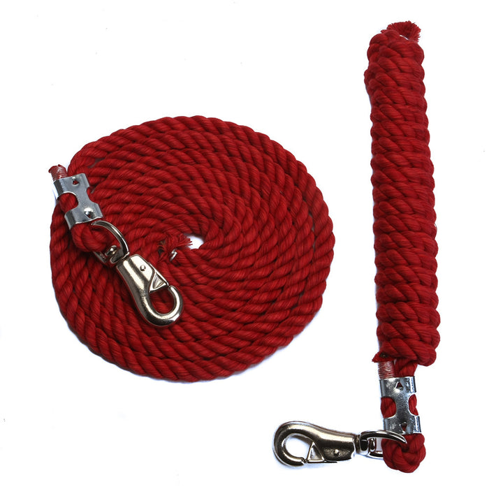 FMS 10 Foot 1/2-Inch Red Cotton Rope Horse Lead with Bolt Snap or Bull Snap (1 or 2 Pack)