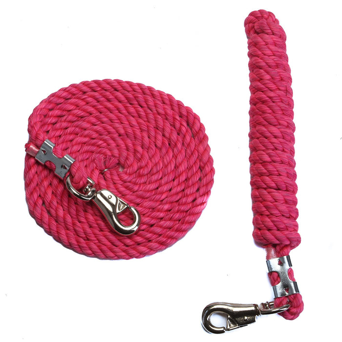 FMS 10 Foot 1/2-Inch Hot Pink Cotton Rope Horse Lead with Bolt Snap or Bull Snap (1 or 2 Pack)