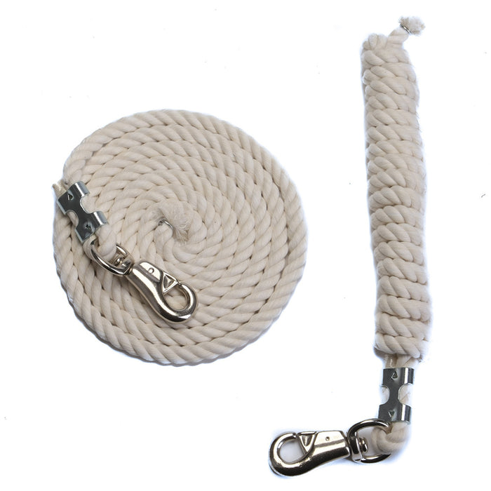 FMS 10 Foot 1/2-Inch Natural White Cotton Rope Horse Lead with Bolt Snap or Bull Snap (1 or 2 Pack)
