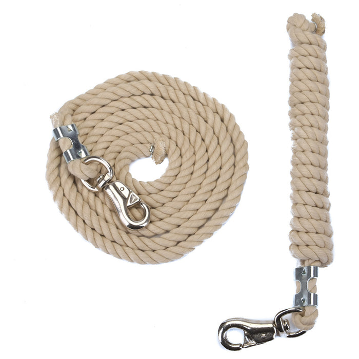FMS 10 Foot 1/2-Inch Tan Cotton Rope Horse Lead with Bolt Snap or Bull Snap (1 or 2 Pack)