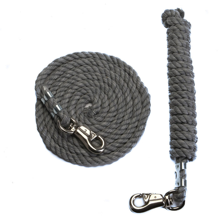 10 Foot 1/2-Inch Grey Cotton Rope Horse Lead with Bolt Snap or Bull Snap (1 or 2 Pack)