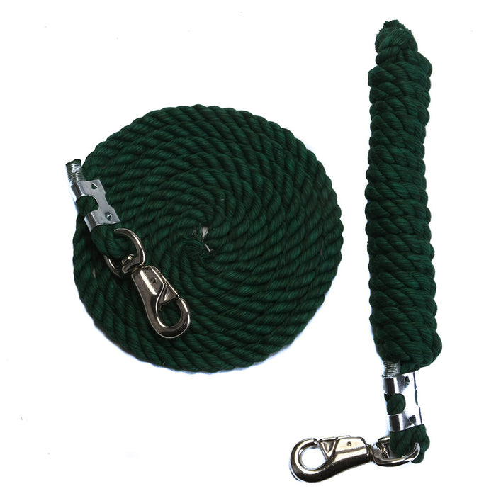10 Foot 1/2-Inch Green Cotton Rope Horse Lead with Bolt Snap or Bull Snap (1 or 2 Pack)