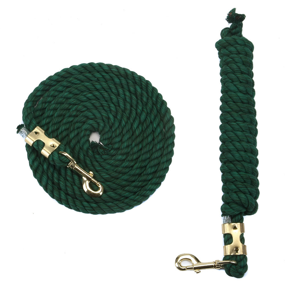 FMS 10 Foot 1/2-Inch Green Cotton Rope Horse Lead with Bolt Snap or Bull Snap (1 or 2 Pack)