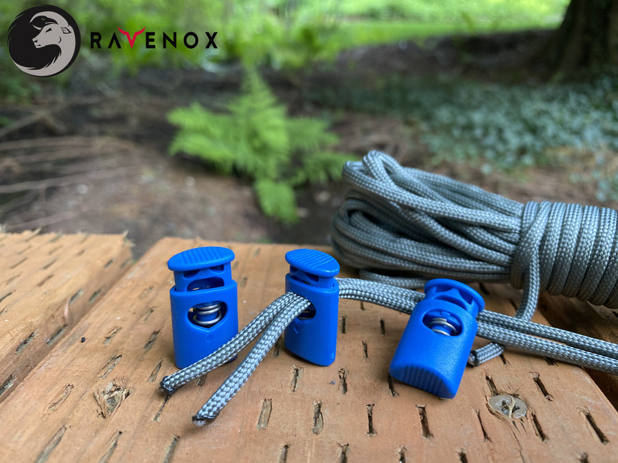 Ravenox Blue Crown Cord Locks for 550 Paracord Projects COVID-19 Face Masks Bungee Cord