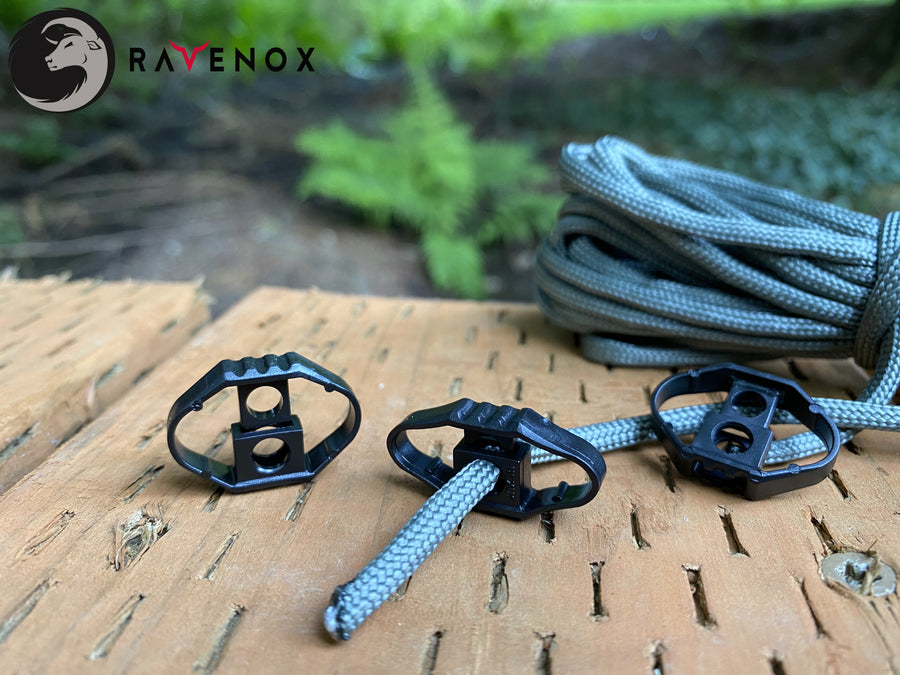 Ravenox Black Single Hole Bow Cord Locks for 550 Paracord Projects COVID-19 Face Masks Bungee Cord