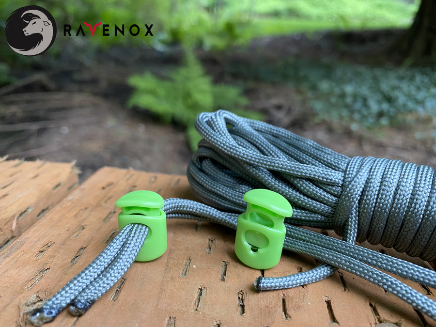 Ravenox Lime Green Cord Locks for 550 Paracord Projects COVID-19 Face Masks Bungee Cord