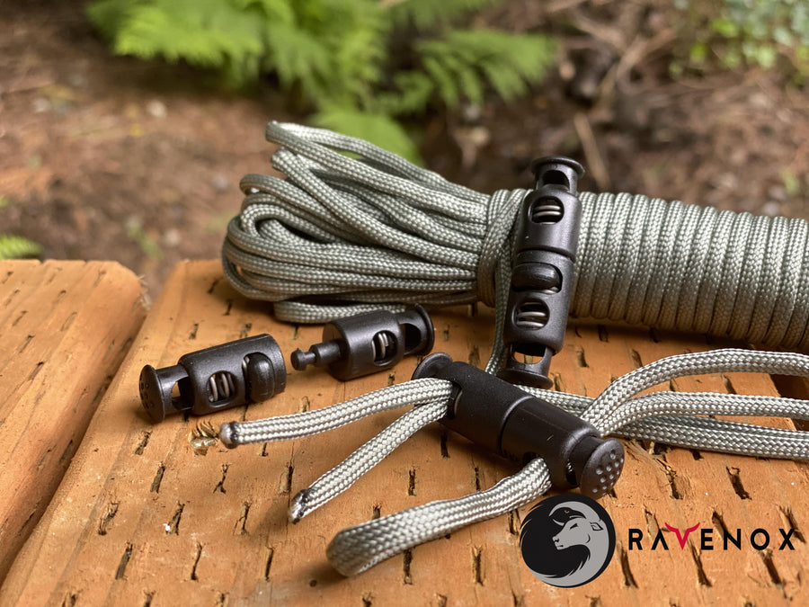 Ravenox Dual Hole Detachable Cord Locks for 550 Paracord Projects COVID-19 Face Masks Bungee Cord
