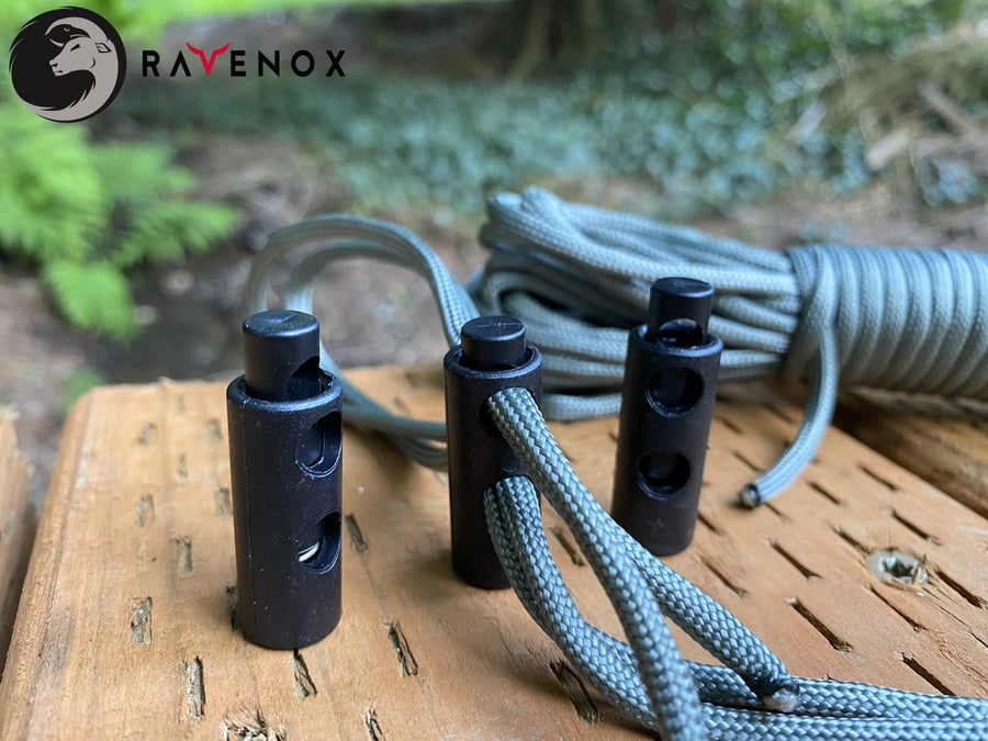 Ravenox Double Hole Barrel Cord Locks for 550 Paracord Projects COVID-19 Face Masks Bungee Cord