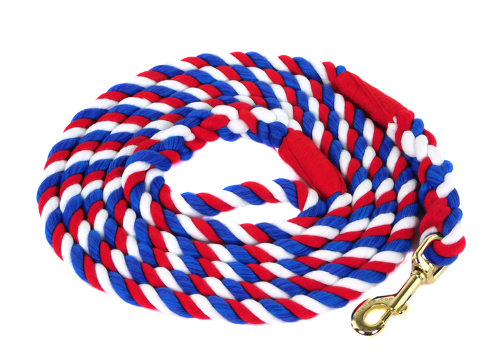 Handmade Twisted Cotton Rope Dog Leash (Red, White & Blue)