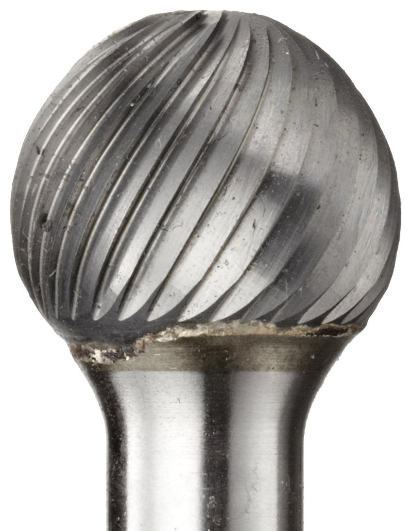 PFERD Ball Carbide Bur, Uncoated (Bright) Finish, Fine Single Cut, Radius End, 1/8