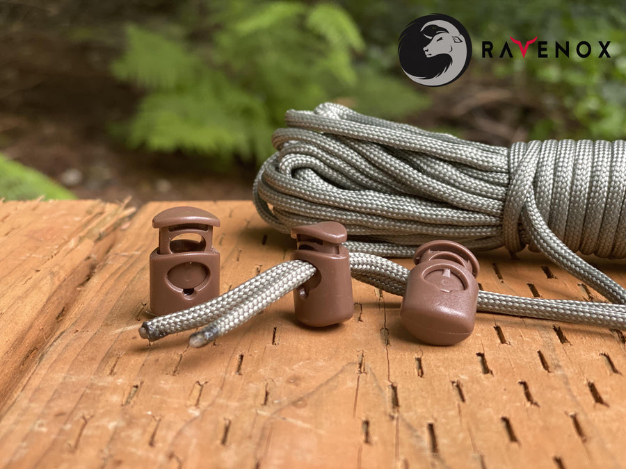 Ravenox Brown Colored cord lock toggles toggle stoppers for shoes drawstrings cord cordage rope cords ropes