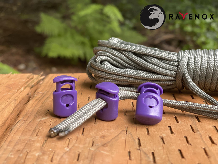 Ravenox Purple Colored cord lock toggles toggle stoppers for shoes drawstrings cord cordage rope cords ropes