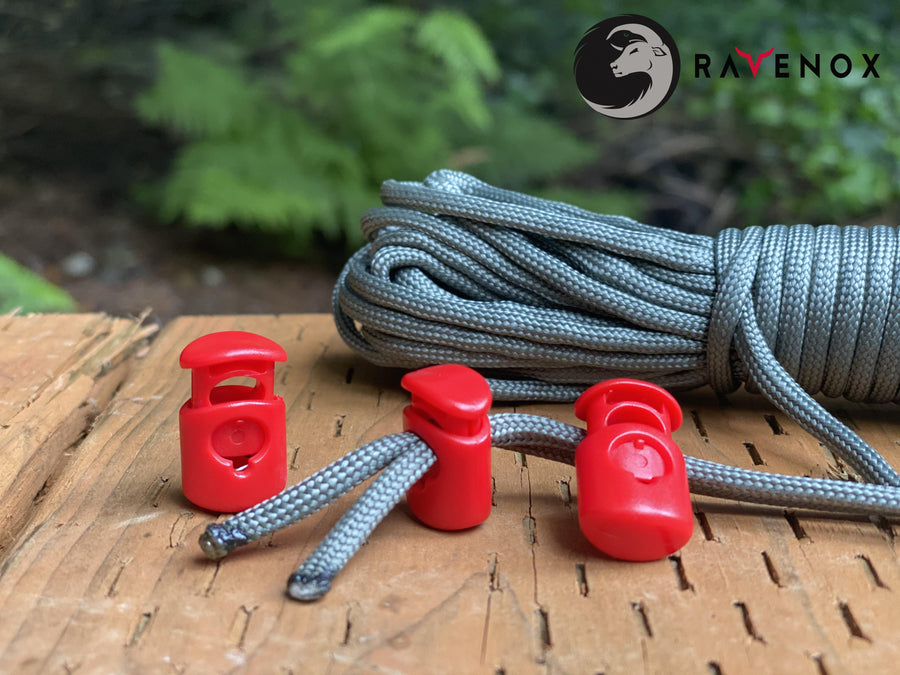 Ravenox Red Colored cord lock toggles toggle stoppers for shoes drawstrings cord cordage rope cords ropes