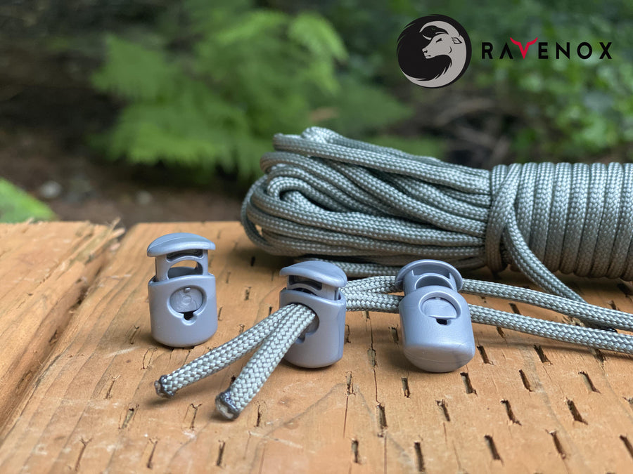 Ravenox Silver Colored cord lock toggles toggle stoppers for shoes drawstrings cord cordage rope cords ropes