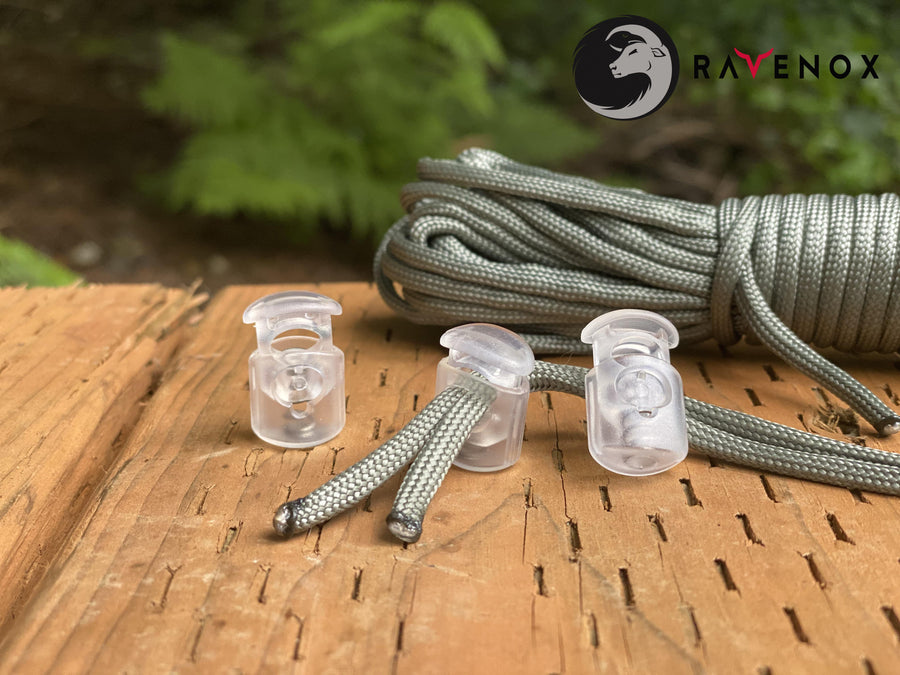 Ravenox Transparent Clear cord lock toggles toggle stoppers for shoes drawstrings cord cordage rope cords ropes