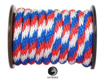 Solid Braid Polypropylene Utility Rope (Red, White & Blue)