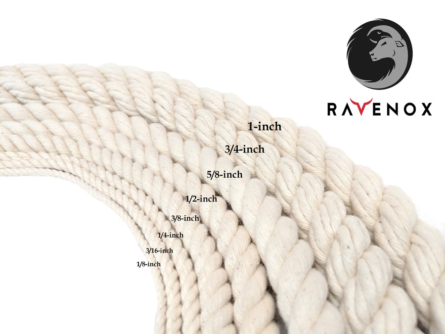 100/% Twisted White Natural Cotton Rope 1//2 inch Diameter Multiple Lengths to Choose