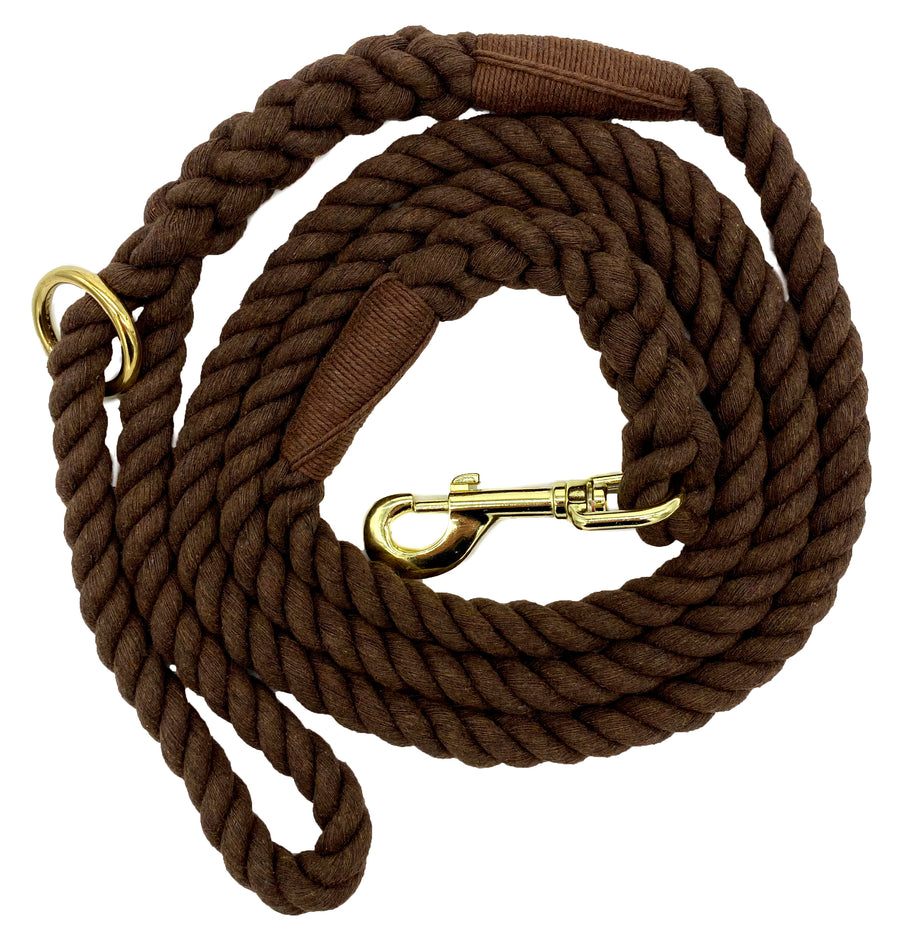 Ravenox Twisted Cotton Rope Dog Leash Walking Dogs Lead Lines Puppies Training Brown