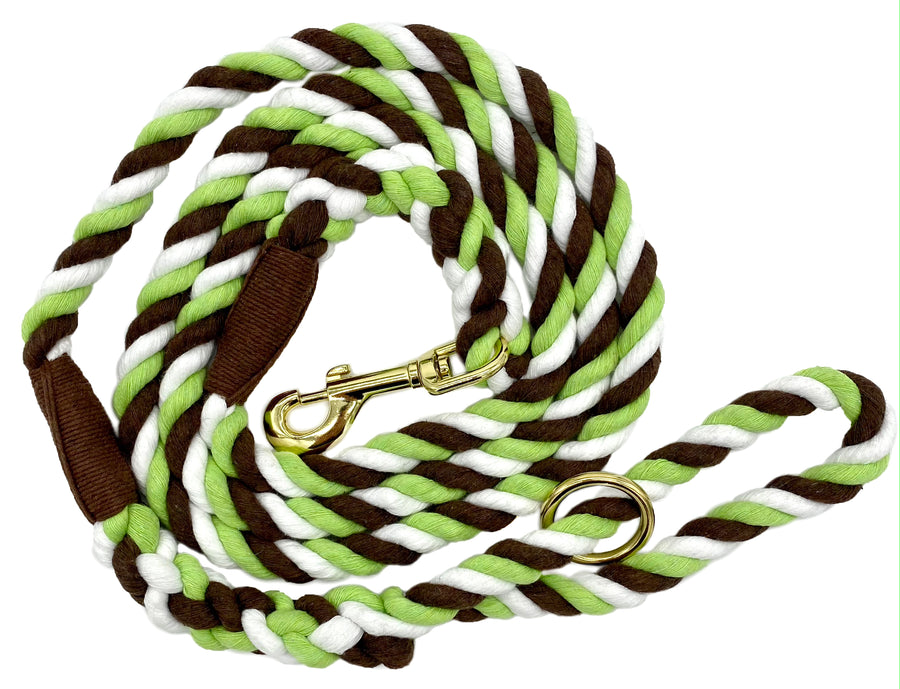 Ravenox Twisted Cotton Rope Dog Leash Walking Dogs Lead Lines Puppies Training Lime Green Brown White