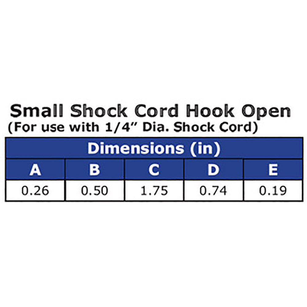 Small Shock Cord Bungee Cord Hooks (Open)