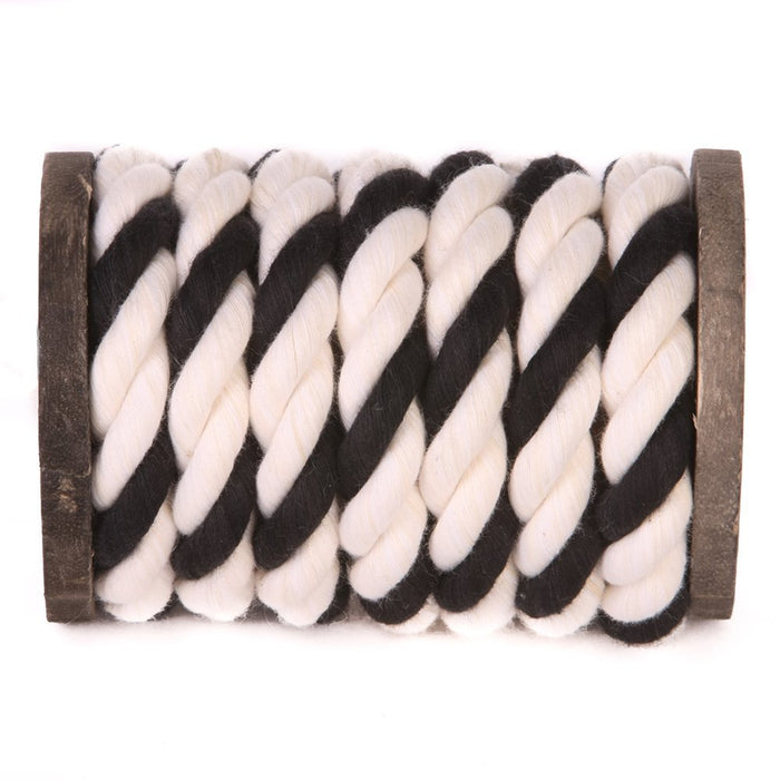 Twisted Cotton Rope (White, White & Black)