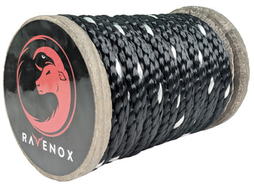 Solid Braid Polyester Rope (Black with Tracer)