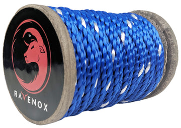 Solid Braid Polyester Rope (Blue with Tracer)