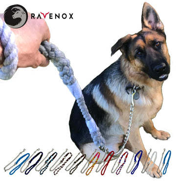Handmade Cotton Dog Leash with Chain