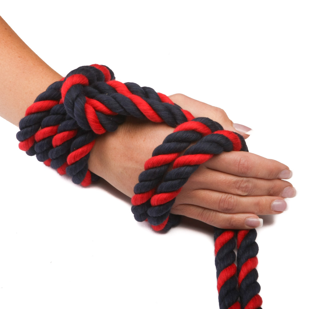 "Twisted Cotton Rope (Black, Black & Red) - ""Thin Red Line"""