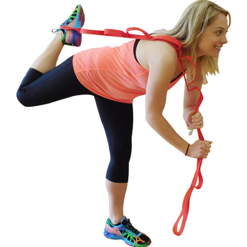 Ravenox Yoga Strap for Stretching and Flexibility in Red Being Used by Fitness Woman