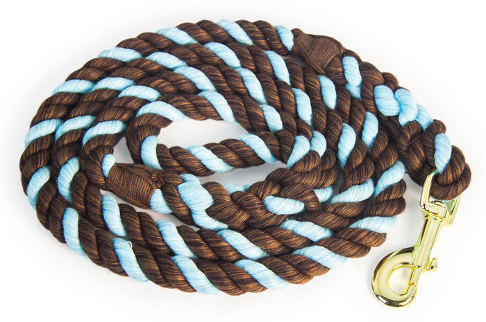 Leash Madraí Rope Cotton Cadáis Dhosmálta (Brown, Brown & Blue Blue)