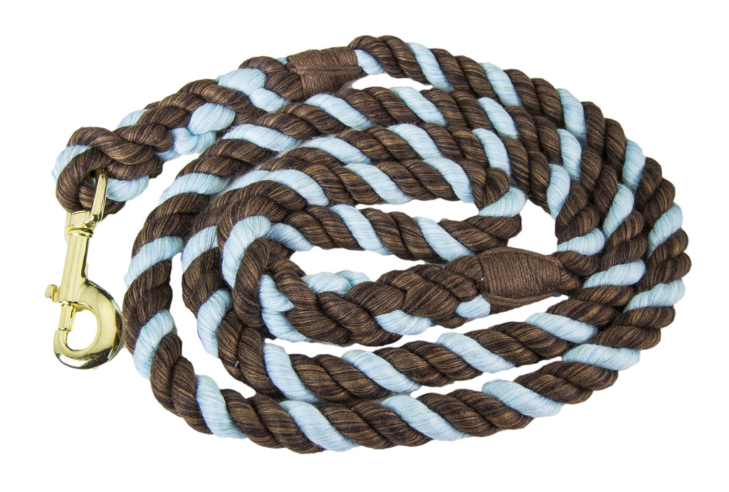 FMS Handmade Twisted Cotton Rope Dog Leash (Brown, Brown & Aqua Blue)