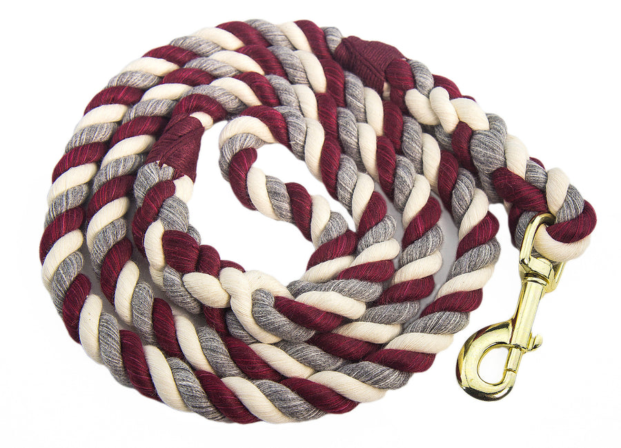 Handmade Twisted Cotton Rope Dog, Pet Leash Horse Lead (Burgundy, Silver & White)