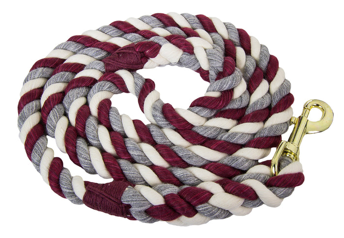 Handmade Twisted Cotton Rope Dog Leash (Burgundy, Silver & White)