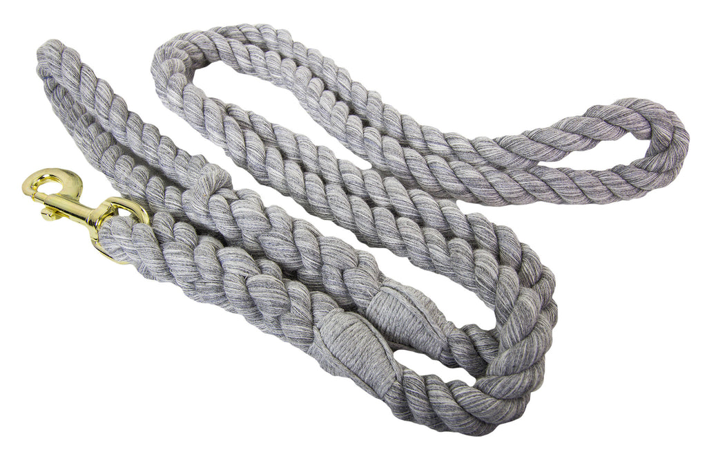 FMS Handmade Twisted Cotton Rope Dog Leash (Grey)