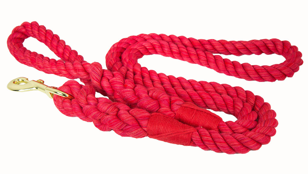FMS Handmade Twisted Cotton Rope Dog Leash (Red)
