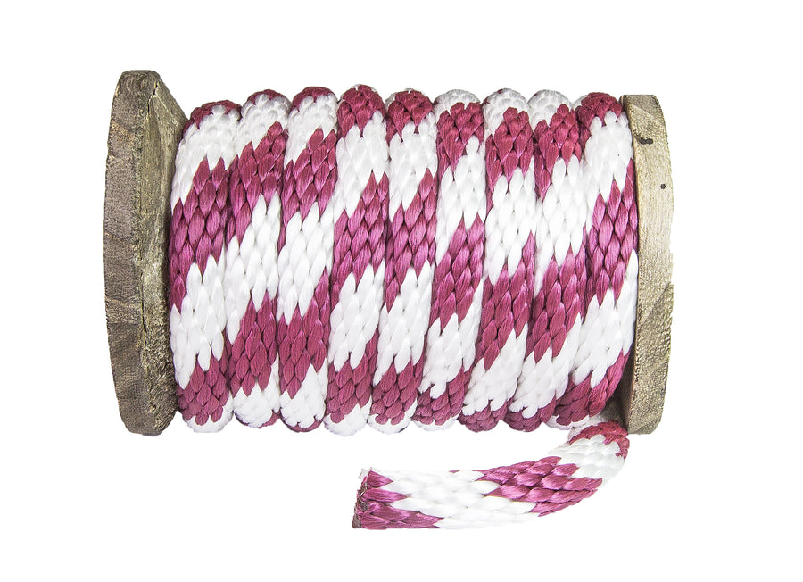 Solid Braid Polypropylene Utility Rope (Burgundy & White)