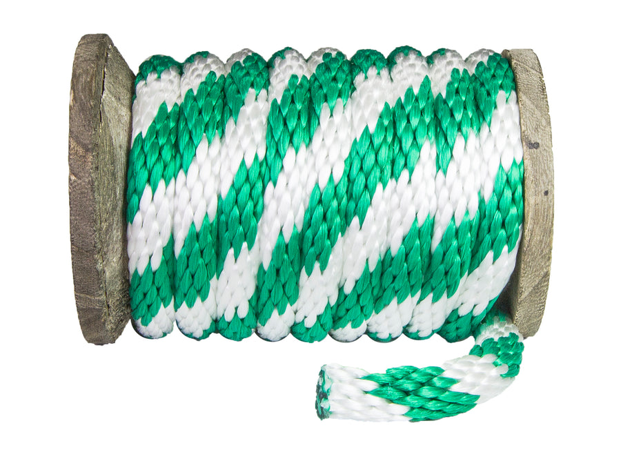 Solid Braid Polypropylene Utility Rope (Green & White)
