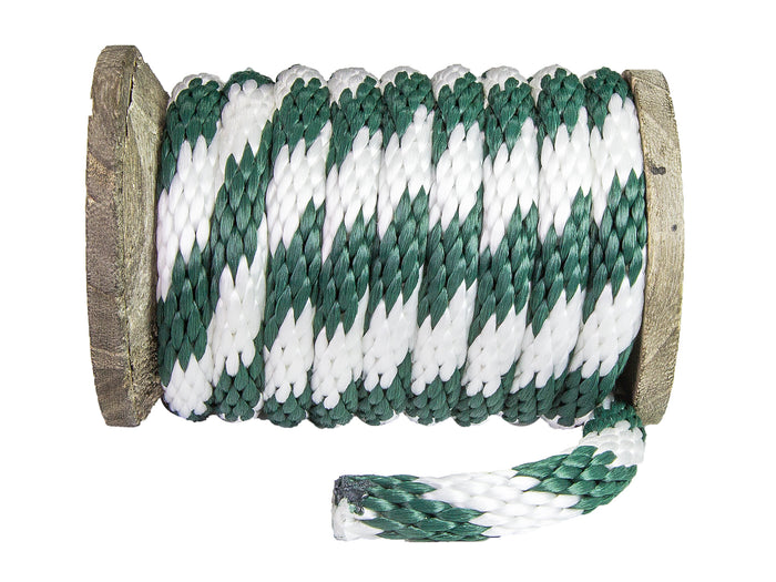 Solid Braid Polypropylene Utility Rope (Hunter Green & White)