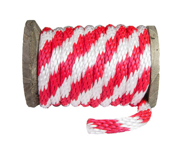 Solid Braid Polypropylene Utility Rope (Red & White)
