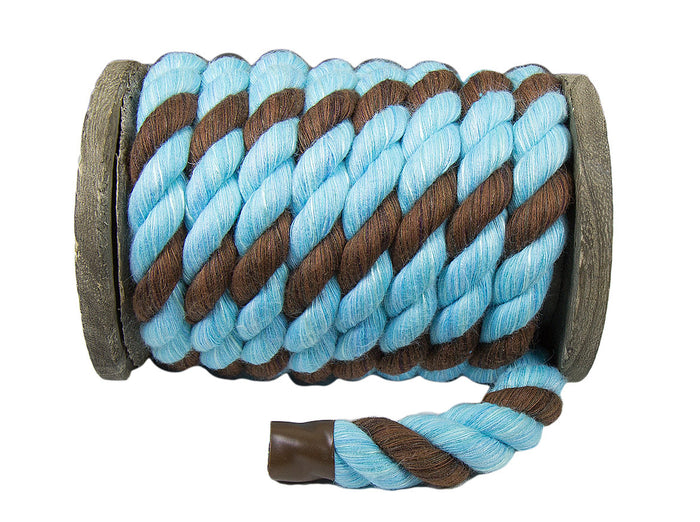 Twisted Cotton Rope (Aqua Blue / Aqua Blue & Brown)