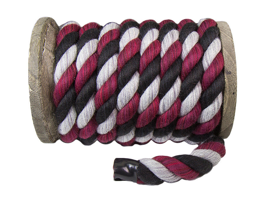 Twisted Cotton Rope (Black, Burgundy & Grey)