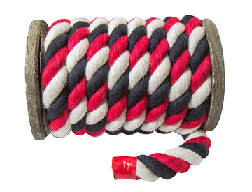 Twisted Cotton Rope (Navy Blue, Grey & Red)
