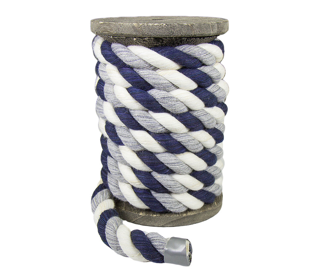 Twisted Cotton Rope (Navy Blue, Grey & White)