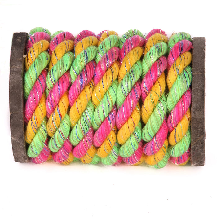 Twisted Cotton Rope (Glitter Pink Gold Lime)