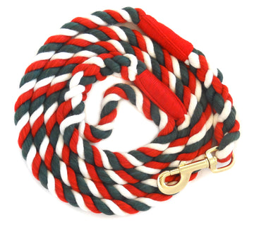 Handmade Twisted Cotton Rope Dog Leash Pet Lead (Red, White & Green)