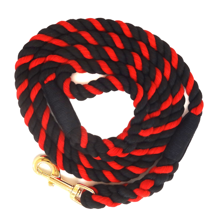"Handmade Twisted Пахта Канат Dog, Пет Leash Horse Коргошун (Black, Black & Red) - ""Thin Red Line"""